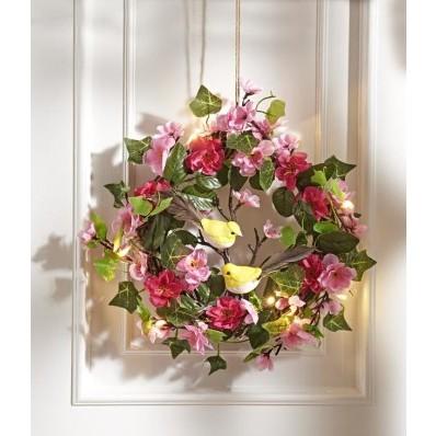 LED květinový věnec s ptáčky