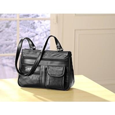 """Kožená taška """"Patchwork"""", čierna"""