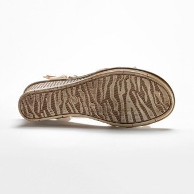 Páskové sandály na klínku s aplikací květin, béžové
