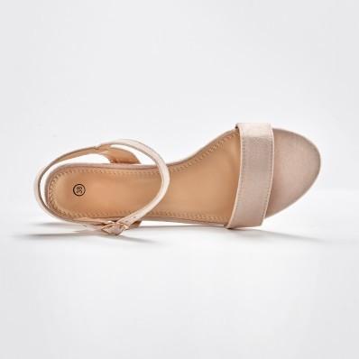 Sandály na podpatku, béžové