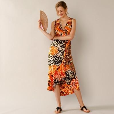 Dlouhé šaty s volány a potiskem