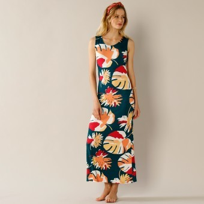Dlouhé šaty s tropickým vzorem