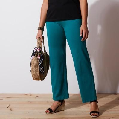 Široké strečové kalhoty