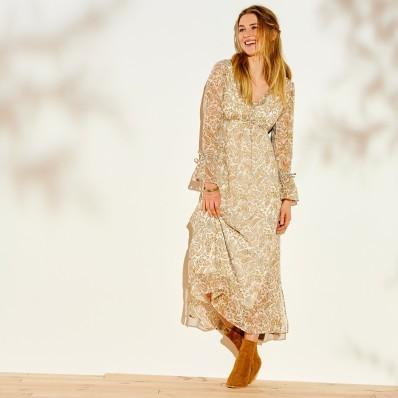 Dlouhé šaty s potiskem kašmíru