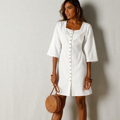 Šaty s knoflíky, bavlna/len