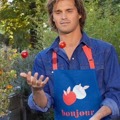 """Zástěra s potiskem """"bonjour"""""""