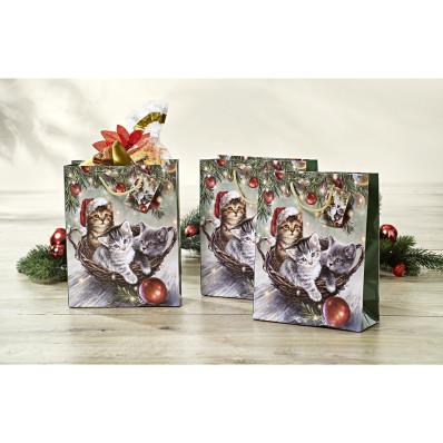 """3 dárkové tašky """"Vánoční koťátka"""""""