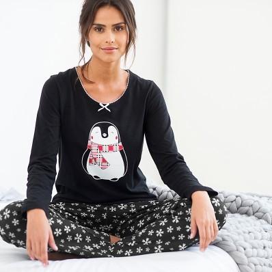 Pyžamo s potiskem tučňáka, úplet a flanel