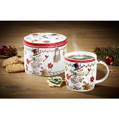 2dílná sada vánoční šálek + plechová dóza