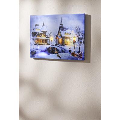 LED-es, zenélő kép  Téli falu