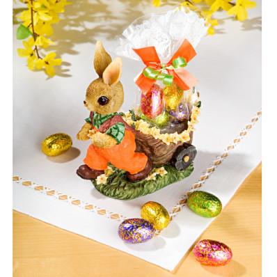 """Dekorácia """"Zajac s vozíčkom"""" + sladkosti"""