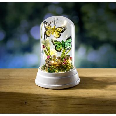 Dekoratívne sklo s LED a motýľmi