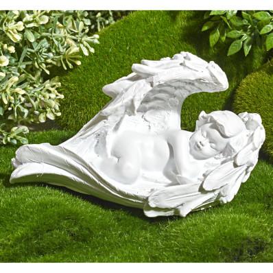 """Dekoracja na grób """"Anioł na łóżku ze skrzydeł"""""""