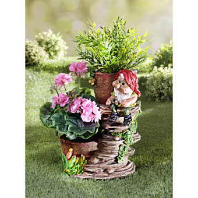 Trpaslík s kvetináčmi