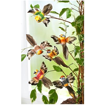6 dekorativních ptáčků