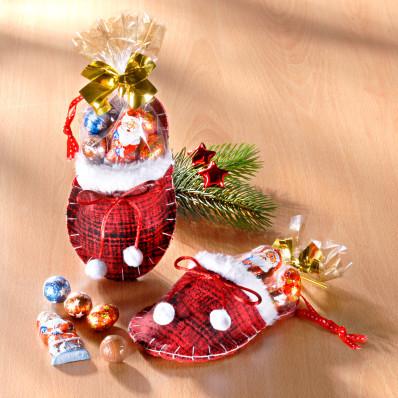 1 vánoční pantofel s cukrovinkami