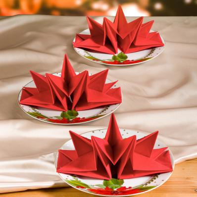12 zložených obrúskov, červená