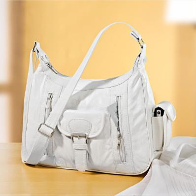 """Kožená taška """"Patchwork"""", biela"""