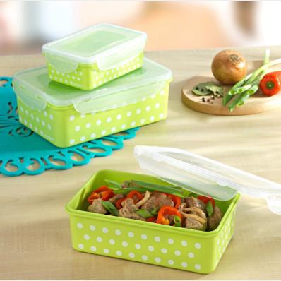 12-dielna súprava dóz na uchovanie potravín, zelená-biela