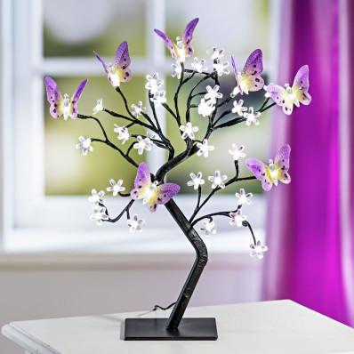 LED dekoračný strom s motýľmi