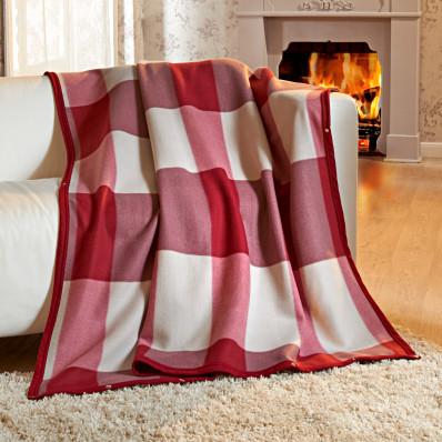 Príjemná deka, bordó-béžová