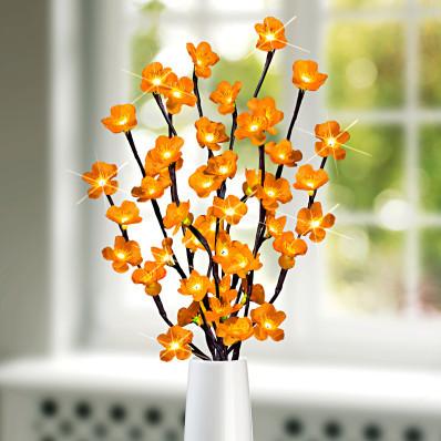 LED svíticí větvička, žluté květy