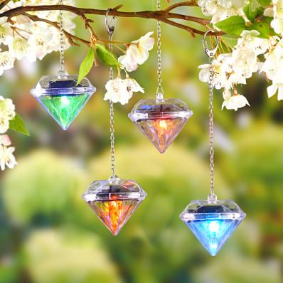 "4 solárne lampáše ""Diamant"""