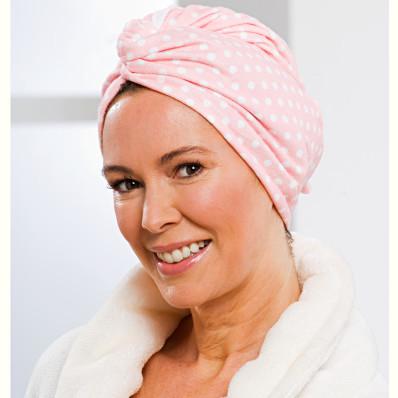 """Uterákový turban z mikrovlákna, """"Bodky"""" ružová"""