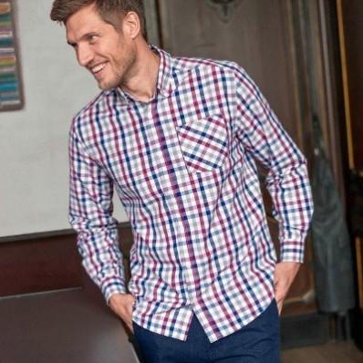 Trojbarevná vichy košile s dlouhými rukávy