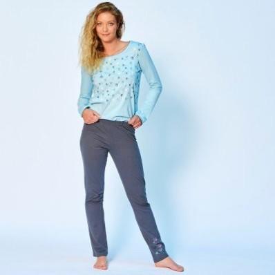Jednobarevné pyžamové kalhoty se středovým potiskem květin