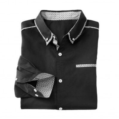 Jednobarevná košile s dlouhými rukávy a kontrastními detaily