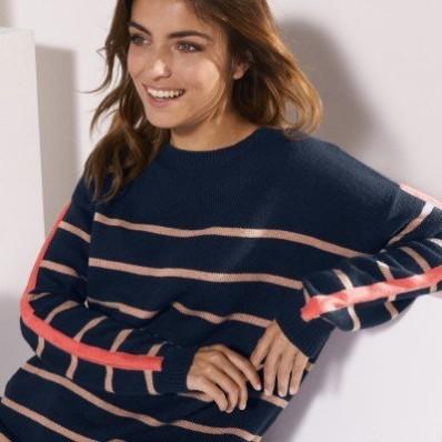 Pruhovaný pulovr kašmírový na dotek
