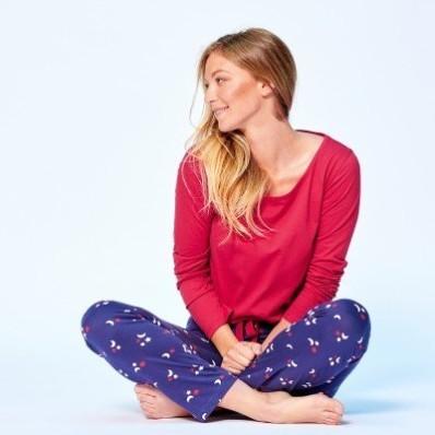 Pyžamové jednobarevné tričko s dlouhými rukávy