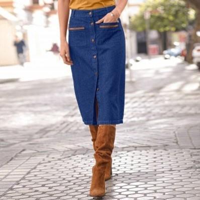 Propínací džínová sukně
