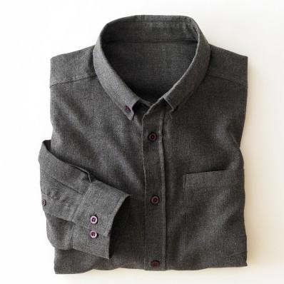 Flanelová jednobarevná košile s dlouhými rukávy