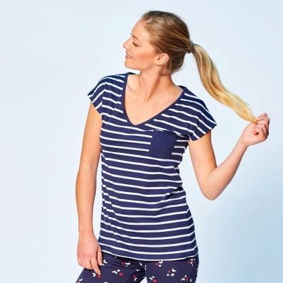 Pyžamové pruhované tričko s krátkými rukávy