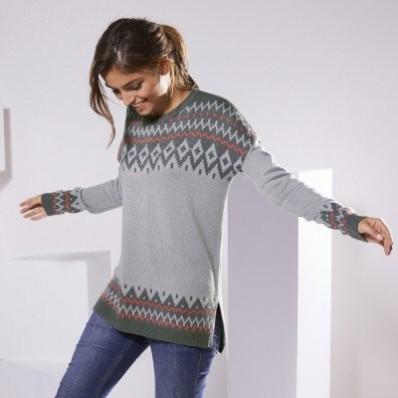 Žakárový pulovr kašmírový na dotek