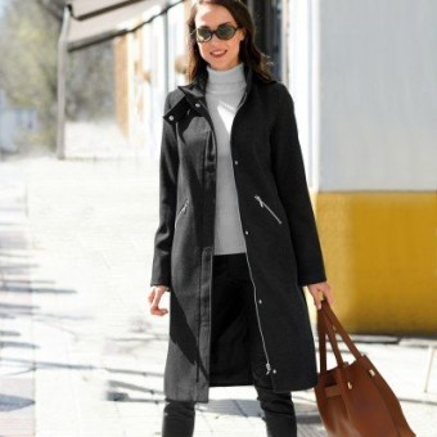 Dlhý kabát na zips