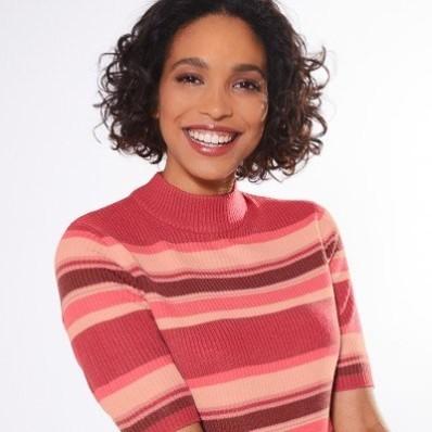 Žebrovaný pruhovaný pulovr s krátkými rukávy