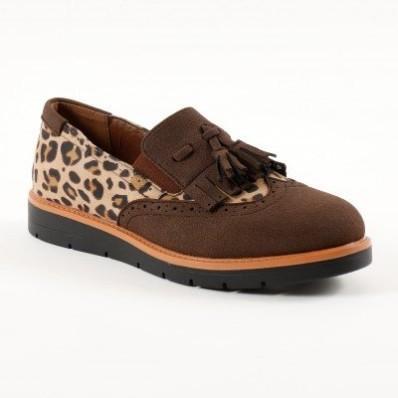Obuv slippers s třásněmi a střapci, leopardí/kaštanové