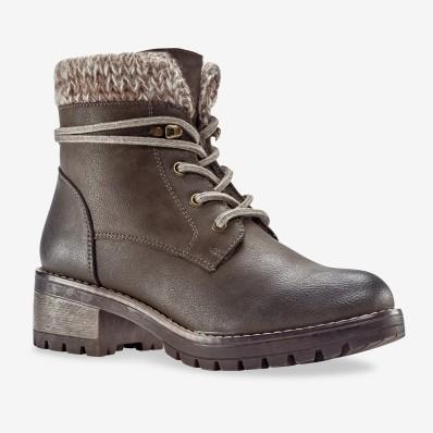 Hřejivé boty s úpletovým lemem, šedobéžové