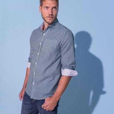 Kostkovaná košile s kontrastními lokty
