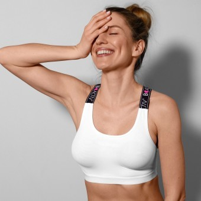 Športová podprsenka s prekríženými ramienkami B'Activ, bez kostíc
