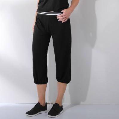 3/4 jednofarebné nohavice s pružným pásom