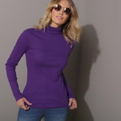 Jednobarevné tričko se stojáčkem a dlouhými rukávy