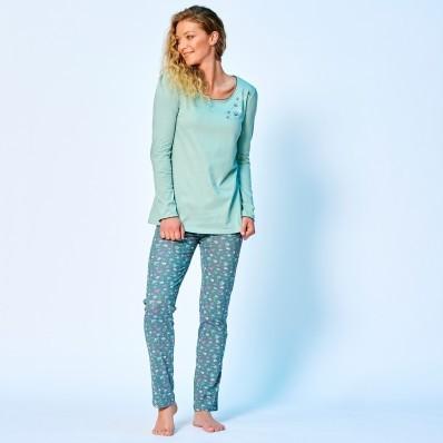 Pyžamové tričko s potiskem květin a dlouhými rukávy