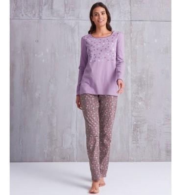 Pyžamové kalhoty s potiskem květin