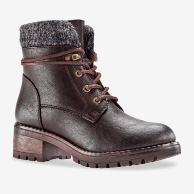 Hřejivé boty s úpletovým lemem, černé