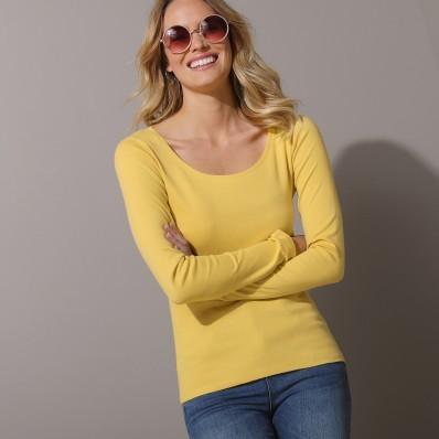 Tričko s kulatým výstřihem a dlouhými rukávy, jednobarevné