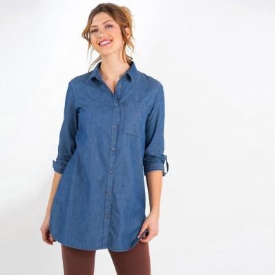 Dlouhá džínová košile s výšivkou
